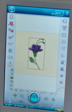 A four color purple flower embroidery design