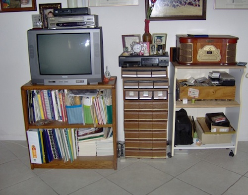 East wall - television, cassette tapes and the music equipment