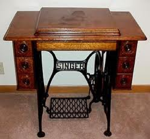 Oak sewing machine table