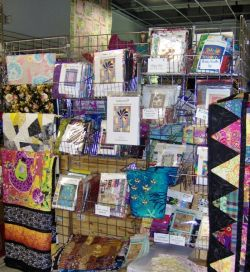Quilt items on display