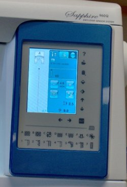 User friendly touch screen for stitch selection process