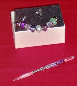 Swarovski crystal bracelet, presser foot charm and stylus