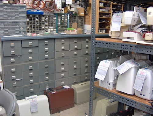 A series of cabinets and drawers