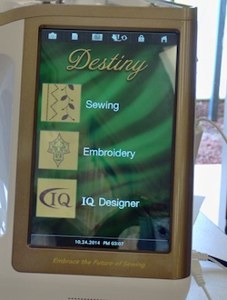 Three starting options - sewing, embroidery or IQ Designer